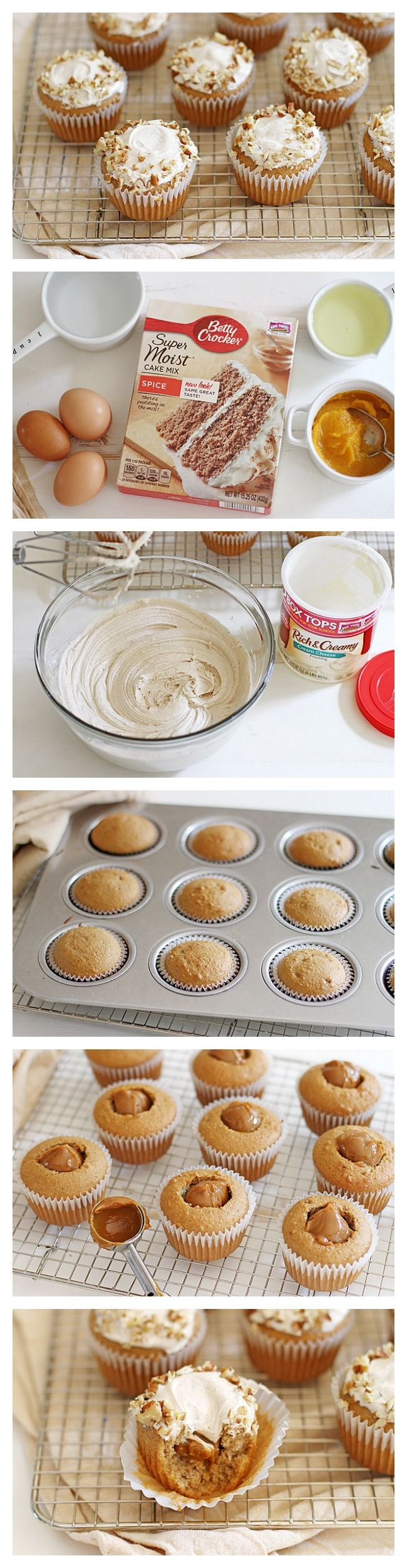 Caramel Cream Filled Cupcakes With Cinnamon Frosting