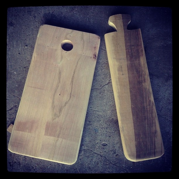 Cherry cutting board and Olivewood baguette board