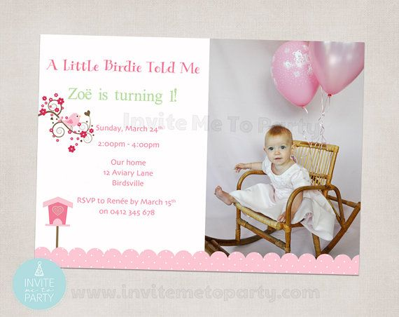 Pink Little Birdie Photo Invitation by InviteMe2Party on Etsy, $15.00