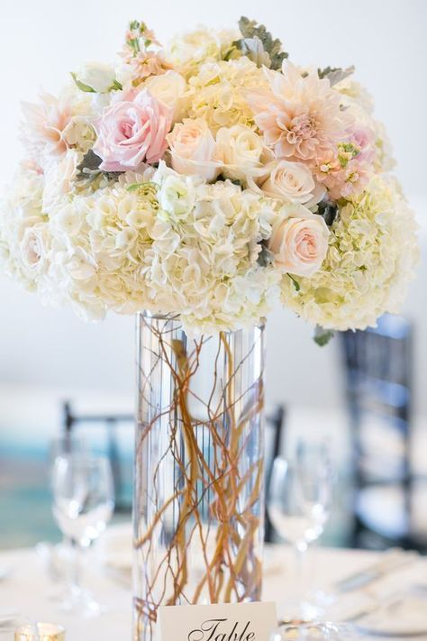 Blush and white tall wedding centerpiece / http://www.himisspuff.com/beautiful-hydrangeas-wedding-ideas/3/