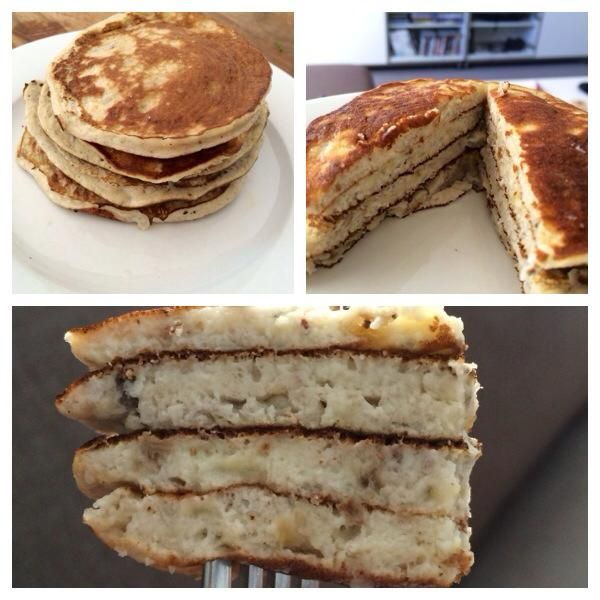 The healthiest (but still delicious) pancakes you'll ever eat - banana, egg, coconut flour (optional) and cinnamon (optional).