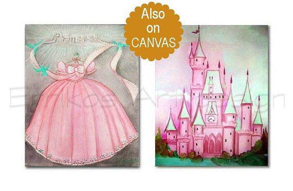 Princess Wall Art Pink Dress Art print Castle Wall Art SET