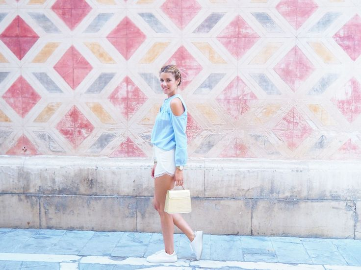 Ana Vera with mini short and blue blouse. www.avrsthings.com