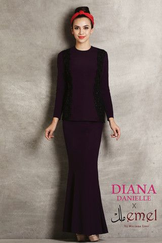 Diana Danielle x emel Modern Kurung with Embroidered Lace Panel