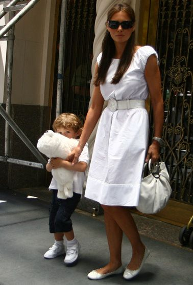 Melania (in flats!) and Barron