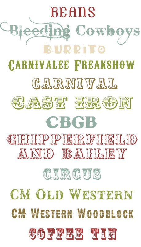 Includes Circus and Carnival Fonts!!