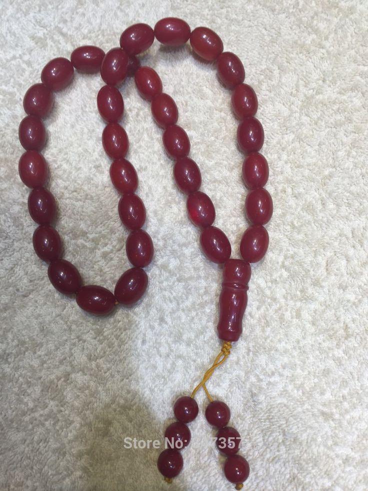 Dark Red Color Synthetic Resin Materials  33 Beads  Oval Shape Kehribar Tasbih Allah Prayer Rosary Free shipping