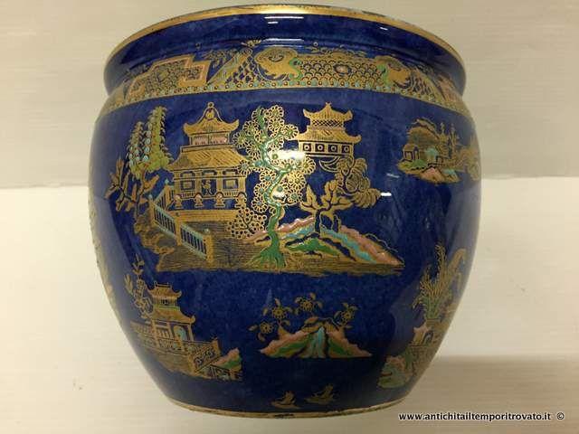 Oggettistica d`epoca - Vasi Antico portavaso con smalti - Antica giardiniera blu cobalto