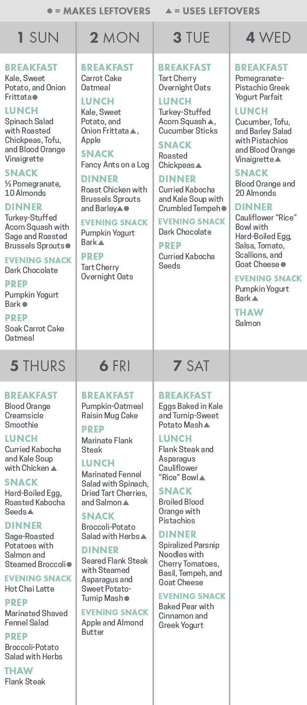There's a printable calendar to help you keep track of what to cook and eat, and when.   Here's How To Actually Eat Healthier This Year