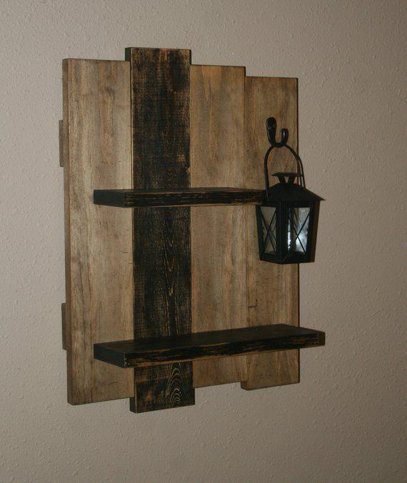 Rustic Wall Shelf Lantern Reclaimed Wood Shelf Distressed