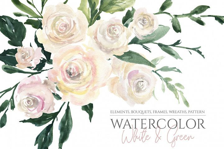 Watercolor White Roses Flowers Bouquets Frames Wreaths Png 287313 Illustrations Design Bundles Watercolor Flowers White Roses Flower Clipart