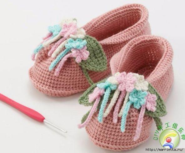 Детские туфельки крючком.