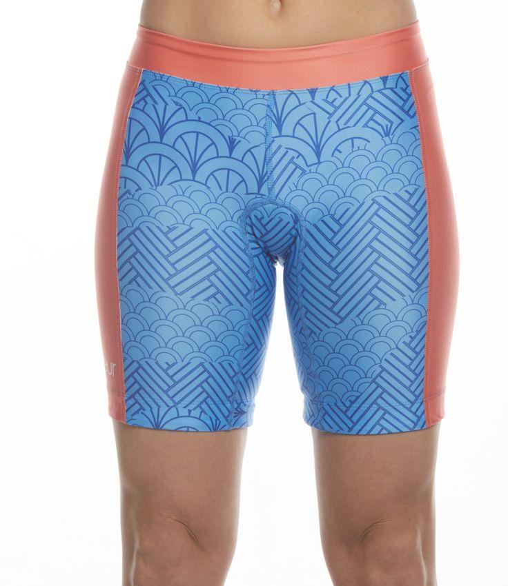 """Women's 8"""" Triathlon Shorts in Serenity Design"""