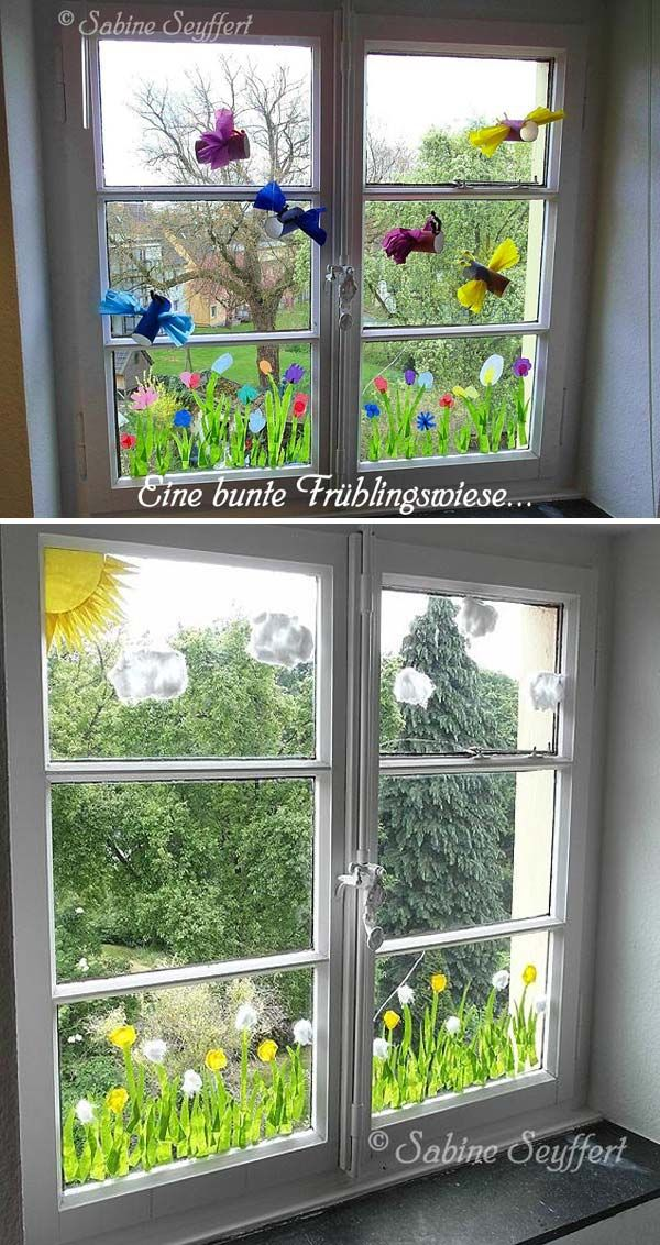 Crepe paper dandelions for window decor - Cute DIY Window Decorating Ways Sure To Amaze You