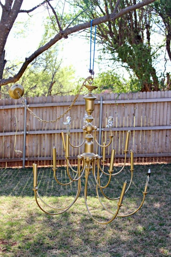 Dimples and Tangles: $20 BRASS CHANDELIER MAKEOVER