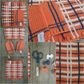 Knitted plaid mittens and neckwarmer