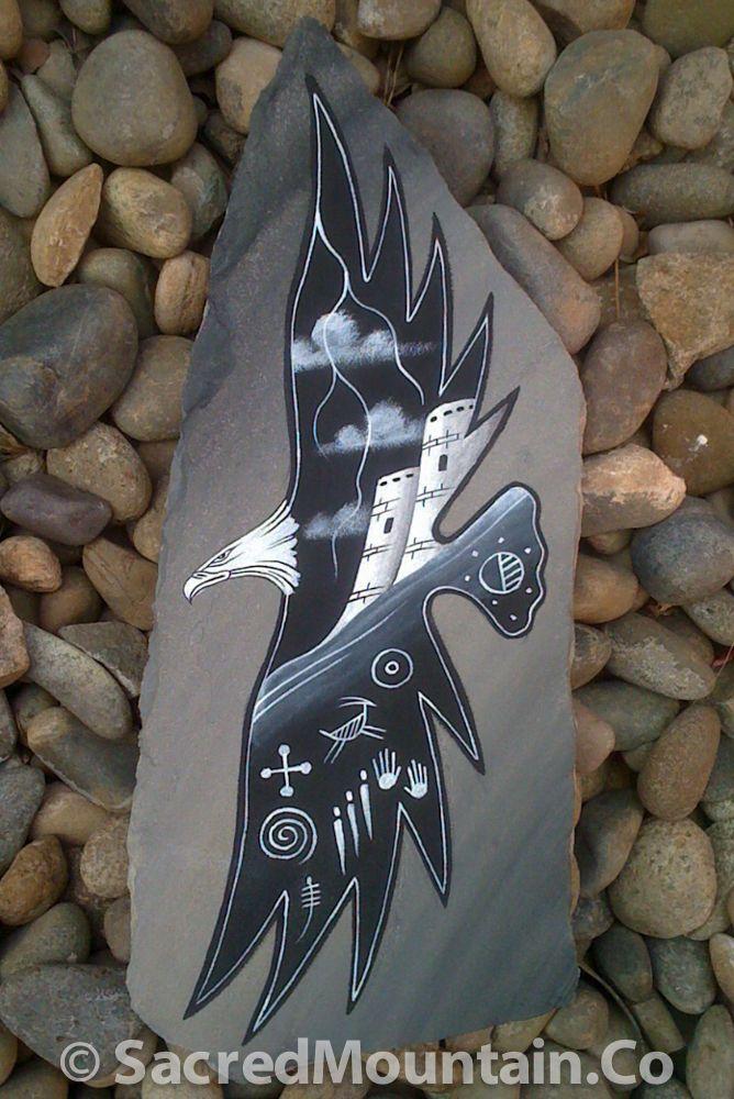 Native American Soaring Eagle Rock Art.Hand painted by Navaho Artist Chris Pinto