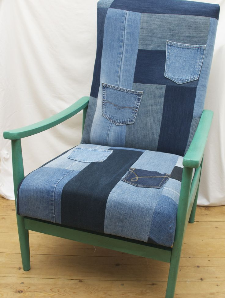 Re-upholstered using recycled patchwork denim. For sale on Etsy
