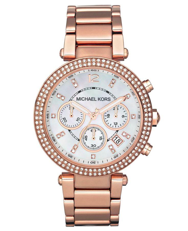 Michael Kors Watch, Women s Chronograph Parker Rose Gold-Tone Stainless  Steel Bracelet 39mm MK5491 b1bca194f5