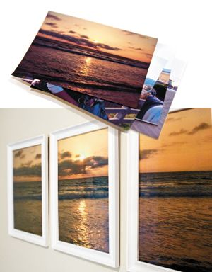 Blow up a favorite photo to a poster-sized print, cut it into thirds and frame it across three frames. Bring a digital file to your copy shop. They can enlarge the image, then split it into three different 11x15 prints. -- east lvg room wall? hallway?
