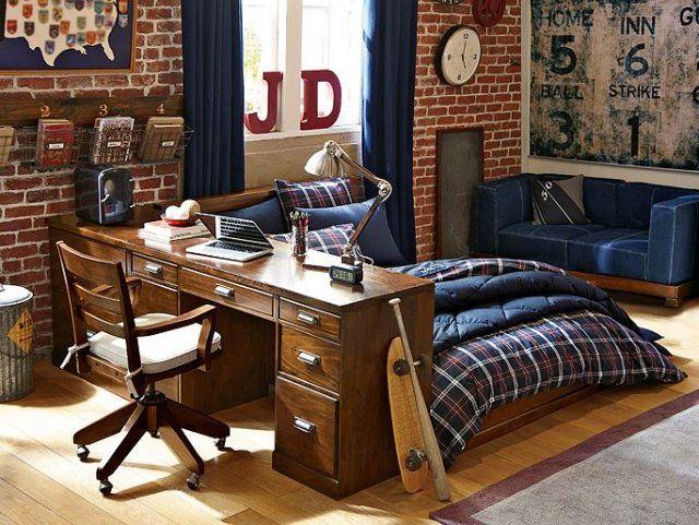 Les 25 meilleures id es de la cat gorie cadres de lit en for Chambre garcon bleu et rouge