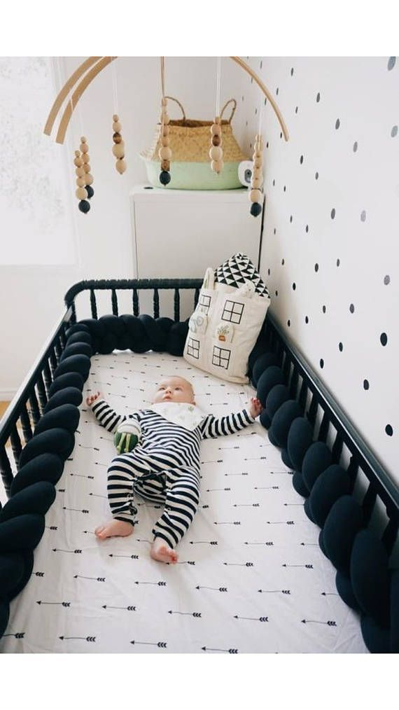 Knot Cushion Decor Baby Shower Braided Crib Bumper Braided Crib Bumper for kids Decorative Pillow Bedding Cradle Bolster Crib