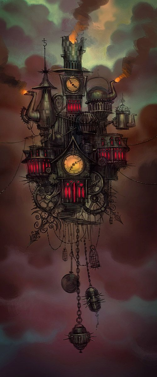 Steam On•❀•Steampunk — The Floating architecture of the Hatter's Domain -...