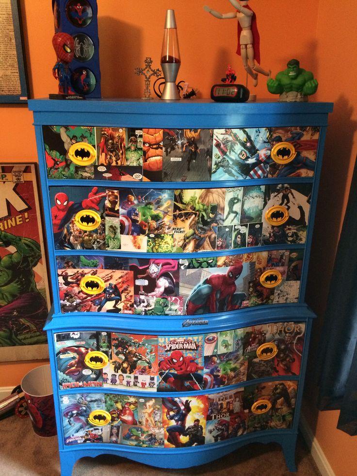 Mason's decoupage super hero dresser!