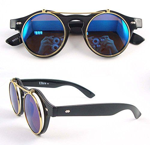 Steampunk - Ultra  Bright Black Frame Blue Lenses Flip up Circle Steampunk high quality Goggles Glasses Retro Round Cyber UV400 UVA UV Top quality premium Sunglasses including a micro fibre carry pouch