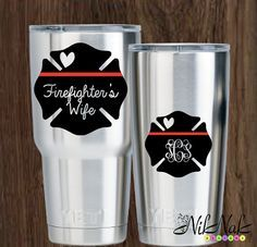 Fire Wife Decal Firefighter Wife Monogram by NikNakDesignsUS