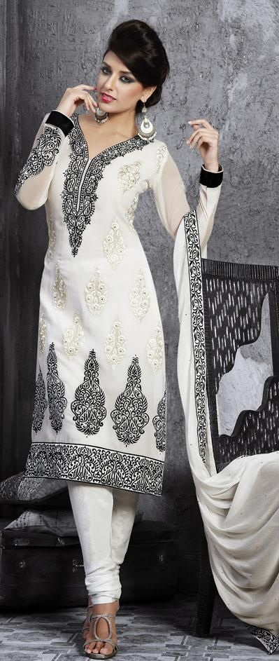 $71.32 White Faux Georgette Stone Work Churidar Salwar Kameez 25297