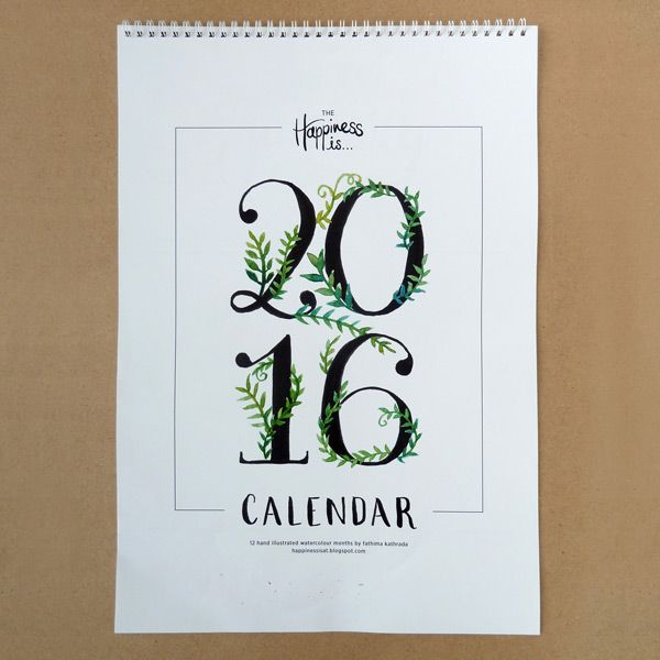 The Happiness is... 2016 Calendar is a full year calendar that will brighten up your year! Each month is individually hand-lettered with a different watercolour botanical illustration for every month.  This is theprintable version that you can download and print for yourself.