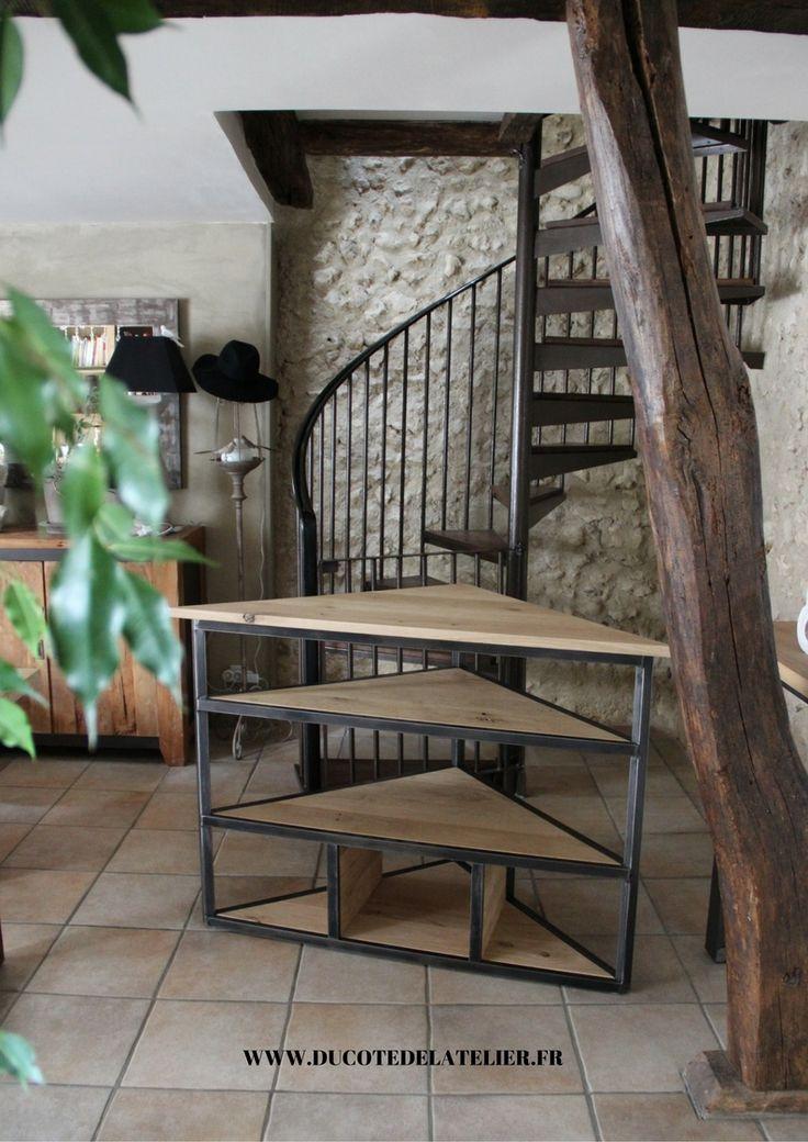 Meuble de tv en coin en bois et métal sur mesure : A retrouver sur www.ducotedelatelier.fr