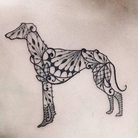 Beautiful greyhound tattoo...I am tempted! #greyhoundtattoo #lacetattoo #dogtattoo #sighthound