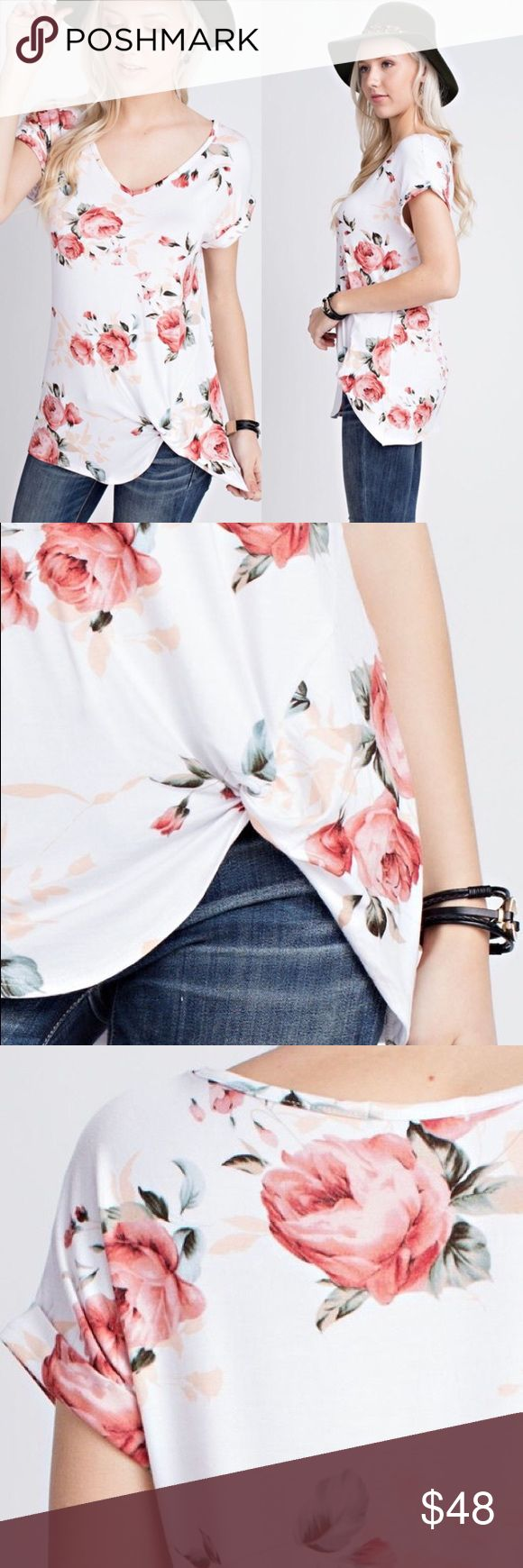 🆕 Floral Breeze Top Short sleeve v-neck with beautiful floral print 😍 Front knot with folded sleeves. No trades. Bundle 3 or more items to save 15% 😊 Kyoot Klothing Tops