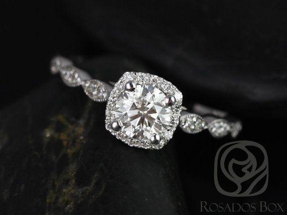 Christie 3/4ct 14kt White Gold Round Diamond Cushion Halo WITH Milgrain Engagement Ring
