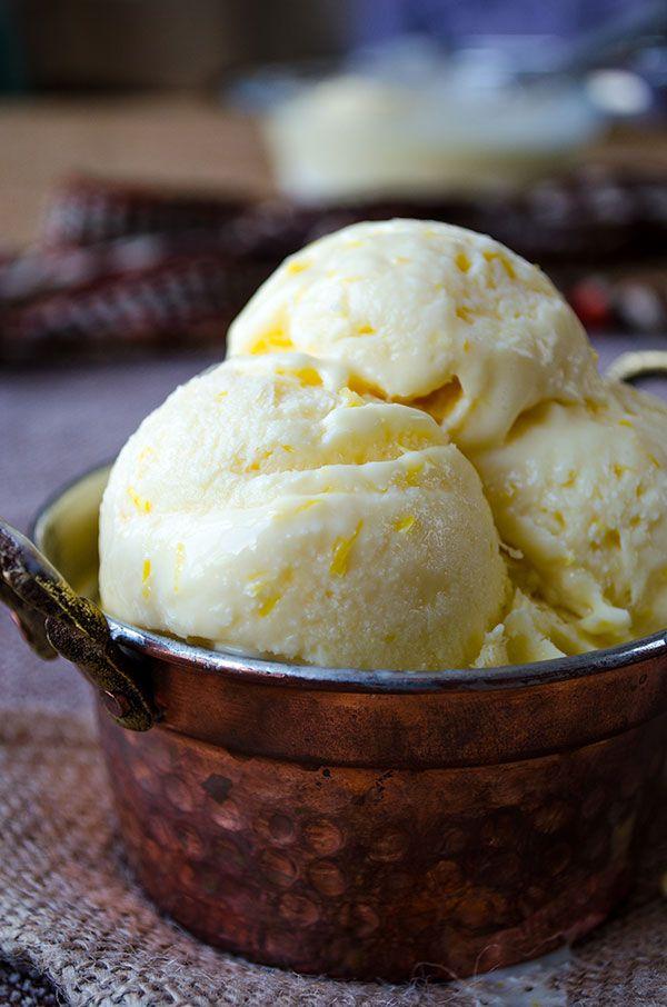 Creamy lemon ice cream loaded with lemon zest and lemon juice. The best refreshing summer treat for lemon lovers! | giverecipe.com | #icecream #lemon #citrus #summer #zesty