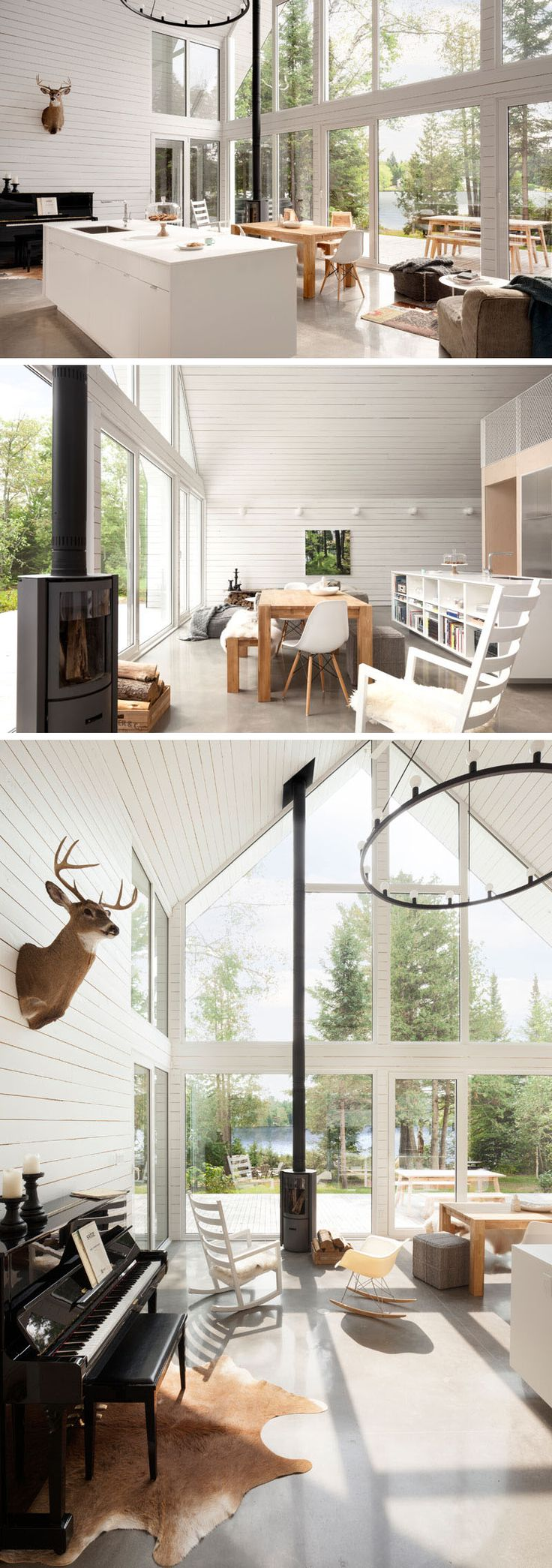 Polished concrete floors and white have been used throughout this lakeside chalet, like in the main living, dining and kitchen area.