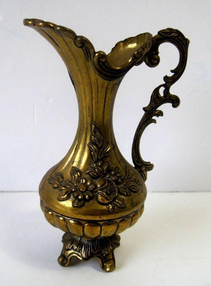 Ornate Italian Brass Footed Pitcher Vase Floral Design