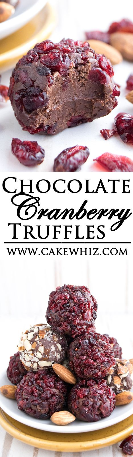 These fudgy CHOCOLATE CRANBERRY TRUFFLES are really simple to make with just 3 ingredients! Great for snacking or gifting during the Christmas holidays! Easiest recipe ever! {Ad} From cakewhiz.com