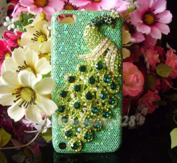 Bling ipod 5 cases | 3D Rhinestone Green Peacock Bling Case Cover FOR Apple Ipod Touch 5 ...