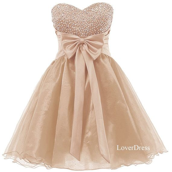 Sweetheart Champagne Homecoming Dresses, Sweet 16 Dress, Organza Short Cute Homecoming Dresses / Party Dresses / Prom Dresses