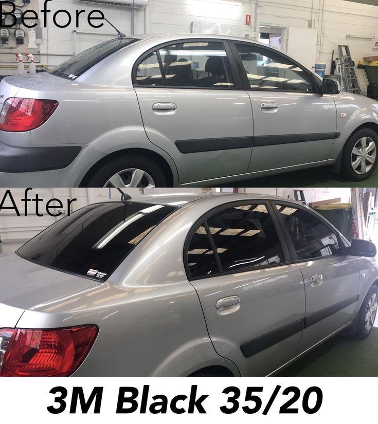 Black Kia Rio 2019: 3M Black Window Tint 35/20 On Kia Rio, Before And After