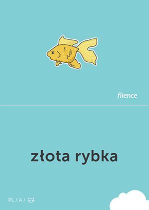 Złota rybka #CardFly #flience #animal #polish #education #flashcard #language