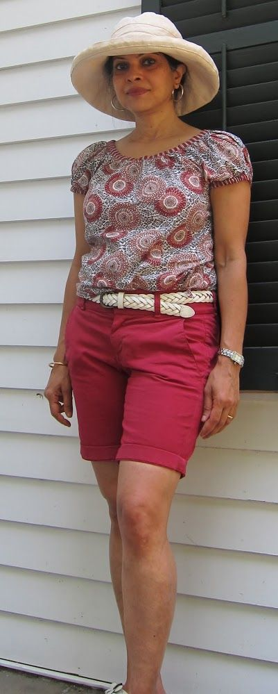 Keeping cool: Anokhi cotton top, Uniqlo belt, J. Crew Andie shorts, Scala hat, silver hoops and Fitflops - 2017