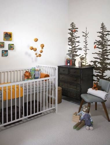 nature nursery - loving the trees on the wall and pine cone mobile!