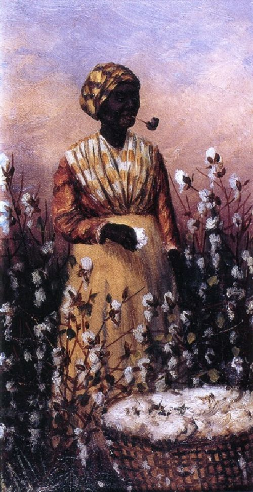 Negro Woman Smoking Pipe and Picking Cotton by William Aiken Walker