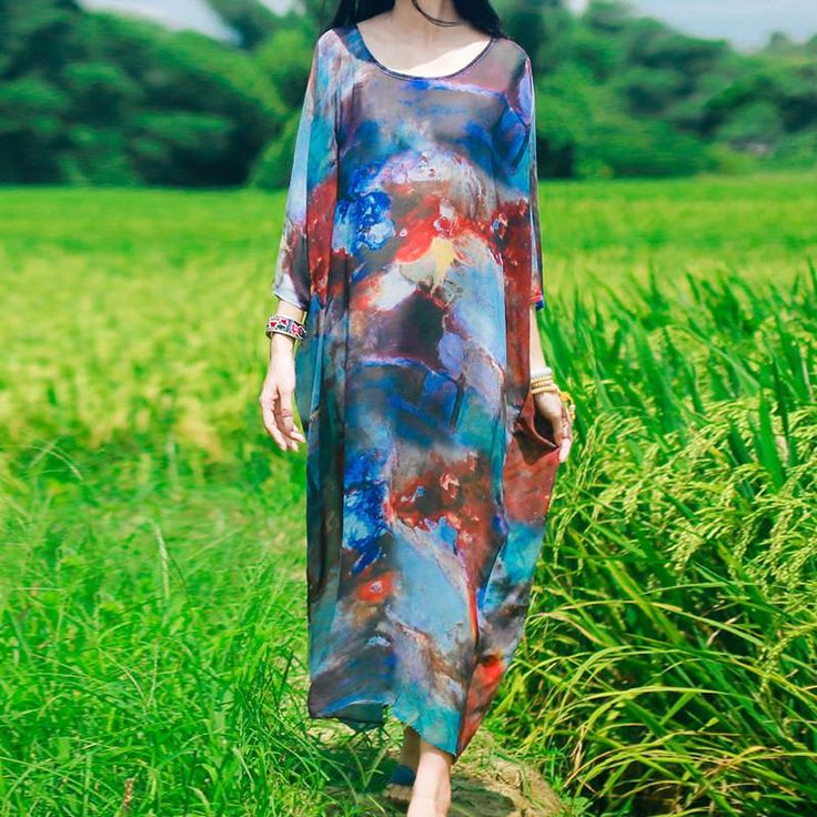 Retro Style Ink Print Gown Dress