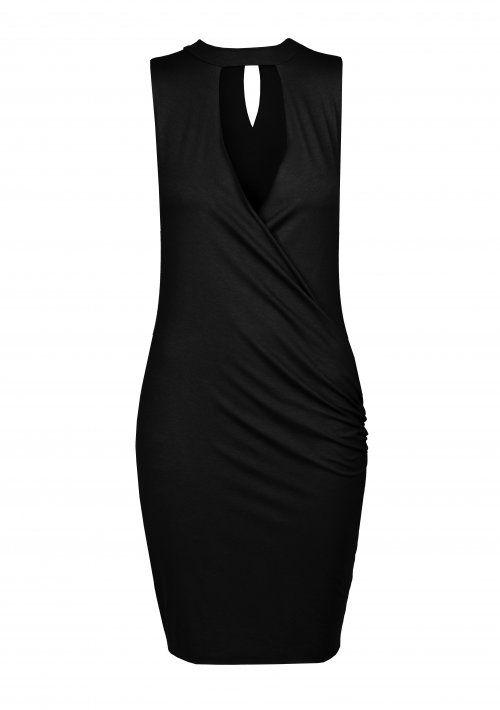 Czarna łezka. Oryginalna sukienka mini z głębokim dekoltem. Fason idealnie podkreśla figurę. #MODLISHKA