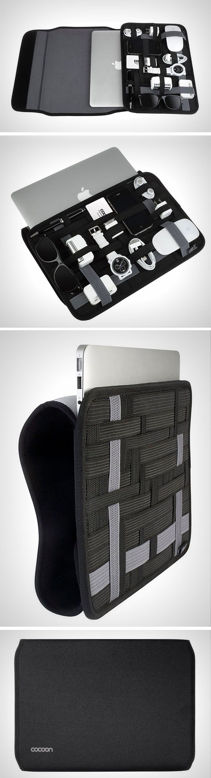 """Unlike any other laptop sleeve, the Cocoon's sleeve comes with an elastic band mesh that can hold any and everything. No more carrying pen-drives in pockets, or having """"dedicated spaces"""" for only select items. The mesh on the Cocoon Grid-It laptop sleeve holds all your gear in a beautiful organized grid that looks like a spider-web from OCD heaven! Buy Now."""